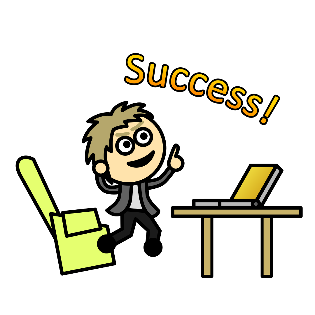 "Man jumping from seat in front of laptop and shouting ""Success!"""